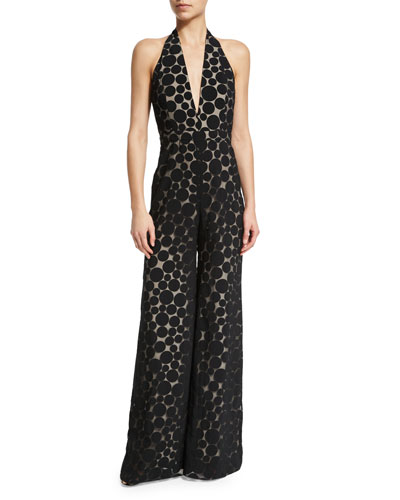 Halter-Neck Wide-Leg Dot Jumpsuit, Black