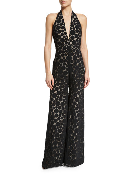 Cushnie et Ochs Halter-Neck Wide-Leg Dot Jumpsuit, Black