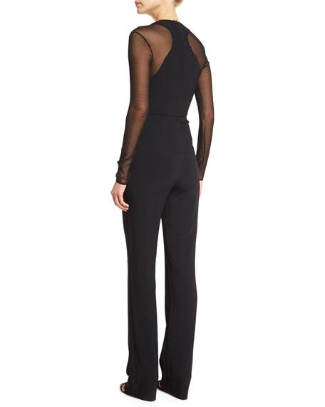 Long-Sleeve V-Neck Jumpsuit, Black