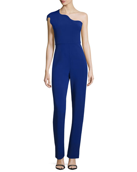 One-Shoulder Slim-Leg Jumpsuit, Indigo