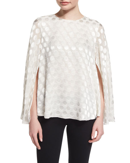 Cushnie et Ochs Jewel-Neck Polka-Dot Cape Blouse, White