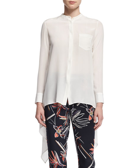 Maiyet Long-Sleeve Button-Front Caftan Top, Open Off White
