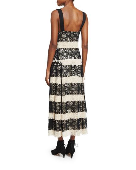 Striped Medallion-Lace Tank Dress, Black/Natural