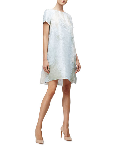 Short-Sleeve Yarn-Dyed A-Line Dress, Aqua