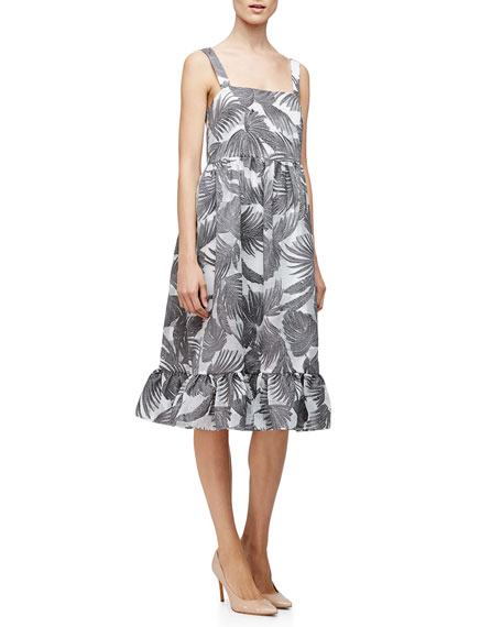 Co Empire-Waist Palm-Print Tank Dress, Charcoal/White