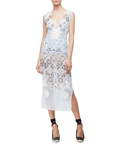 Embellished-Chiffon Eyelet Dress, Pale Blue