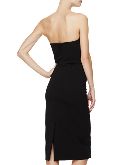 Strapless Button-Front Sheath Dress, Black