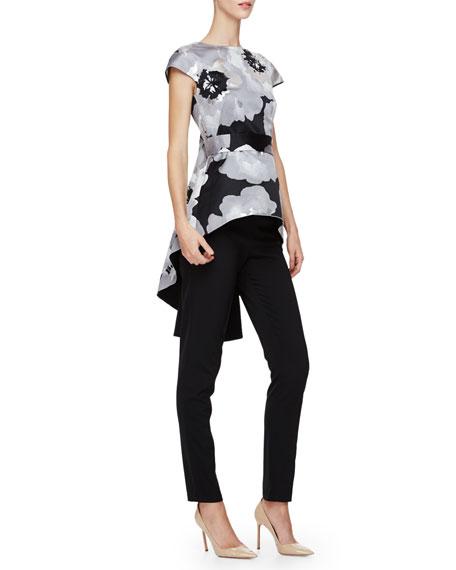 Lela Rose Cap-Sleeve Floral-Print Top, Silver