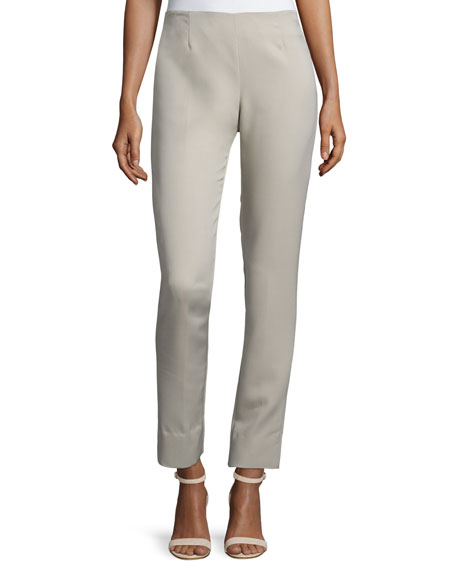 Lela Rose Catherine High-Waist Skinny Pants, Gray