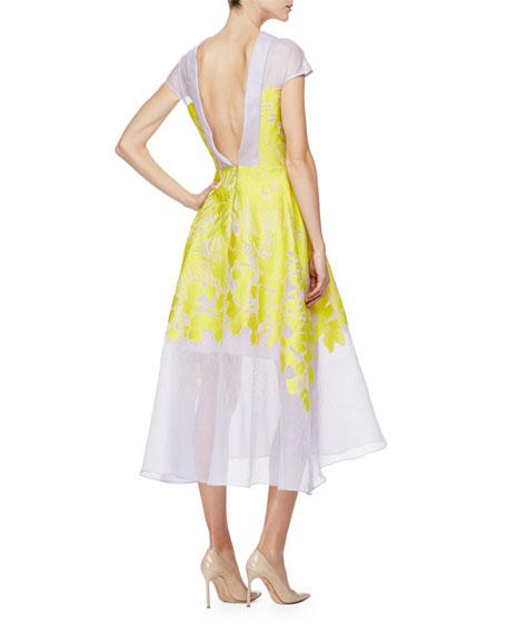 Cap-Sleeve Floral-Print Midi Dress, Citrine/Lilac