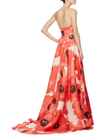 Strapless Oversized Floral-Print Gown, Red/Multi