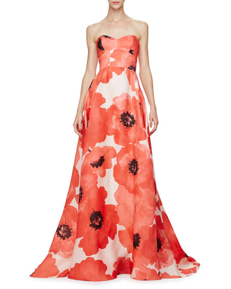 Lela Rose Strapless Oversized Floral-Print Gown, Red/Multi