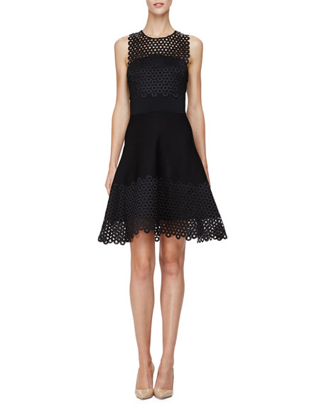 Lela Rose Sleeveless Circle-Lace Mini Dress, Black