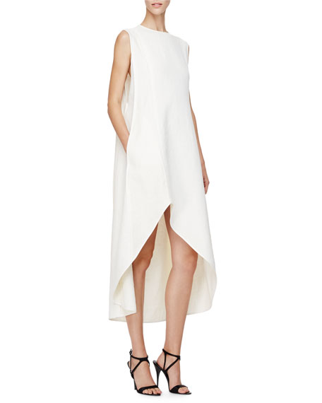Narciso Rodriquez Sleeveless A-Line High-Low Dress, Pearl