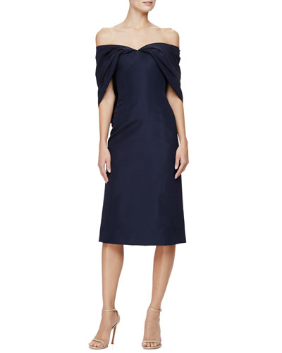 Off-The-Shoulder Sheath Dress, Midnight