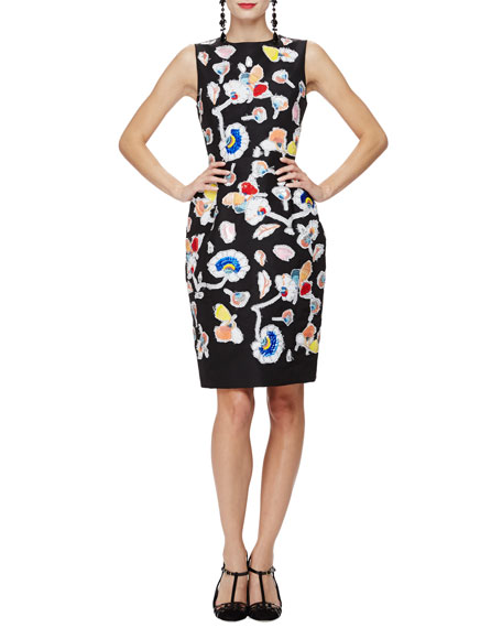 Oscar de la Renta Sleeveless Embroidered Cocktail Dress, Black/Multi