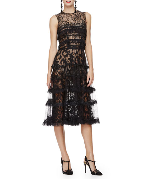 Oscar de la Renta Sleeveless Embroidered Cocktail Dress,