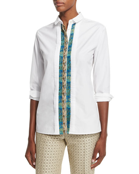 Etro Long-Sleeve Ribbon-Front Shirt, White