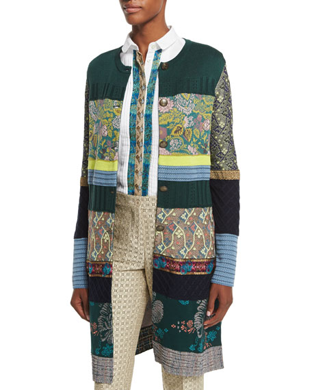 Etro Button-Front Intarsia-Knit Sweater Coat, Green