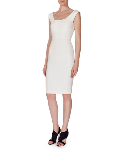 Sleeveless Textured Sheath Dress, White