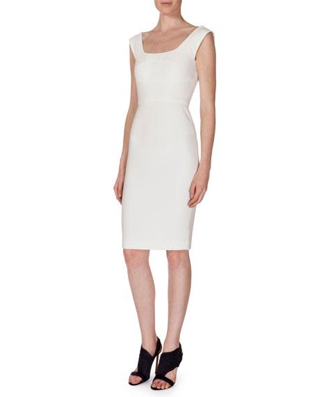 Roland Mouret Sleeveless Textured Sheath Dress, White