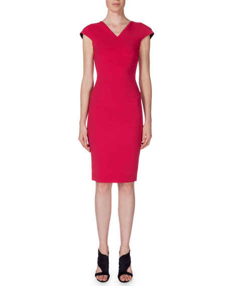 Roland Mouret V-Neck Cap-Sleeve Sheath Dress, Berry Pink