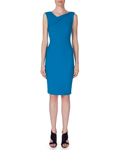 Sleeveless V-Neck Sheath Dress, Bright Blue