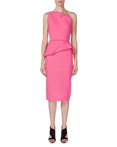 One-Shoulder Peplum Sheath Dress, Candy Pink