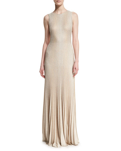 Kiklos Shimmery Knit Flared Gown, Alabaster/Gold