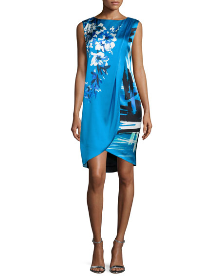 St. John Collection Brushstroke & Hibiscus-Print Draped Dress, Cyan/Multi