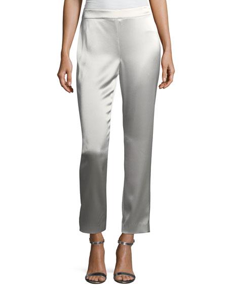 St. John Collection Emma Liquid Satin Cropped Pants,