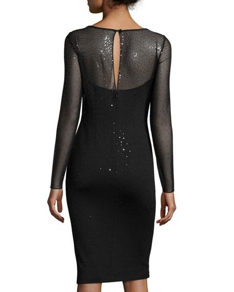 Shimmery Milano Knit Long-Sleeve Sheath Dress, Caviar