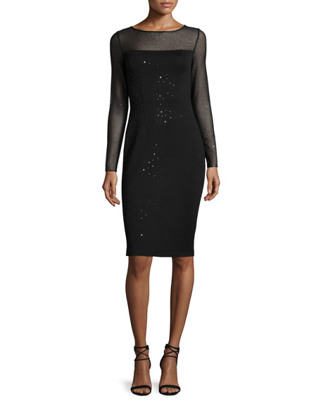 St. John Collection Shimmery Milano Knit Long-Sleeve Sheath
