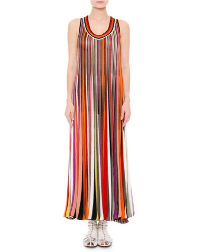 Sleeveless Scoop-Neck Striped Maxi Dress, Multi/Brite/Black