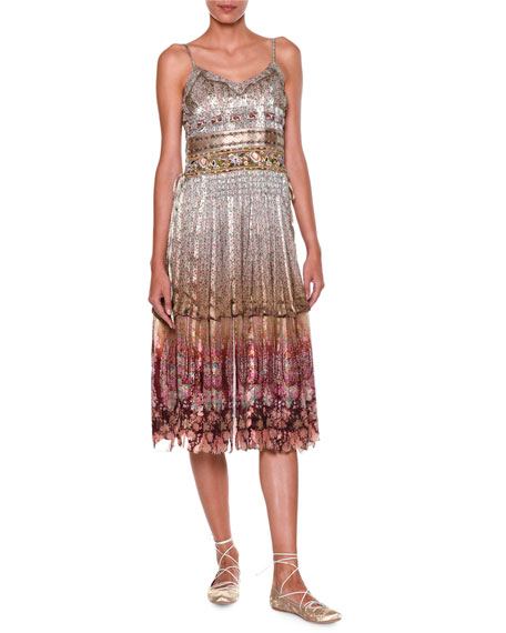 Etro Ruched-Bodice Tiered-Skirt Tank Dress, Pink/Red/Multi