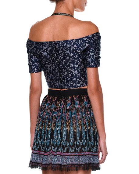 Off-The-Shoulder Floral-Print Crop Top, Blue/Multi
