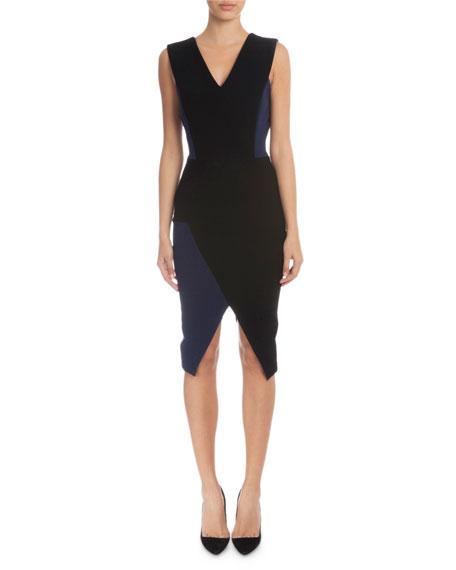 Victoria Beckham Sleeveless V-Neck Sheath Dress, Black/Navy