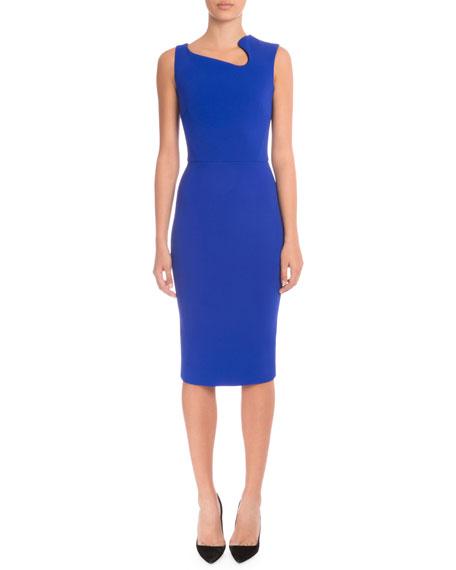Victoria Beckham Sleeveless Asymmetric-Neck Sheath Dress, Cobalt
