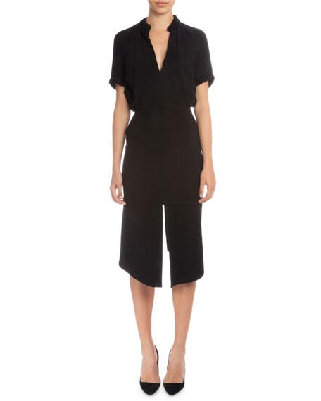 Victoria Beckham Short-Sleeve V-Neck Sheath Dress, Black