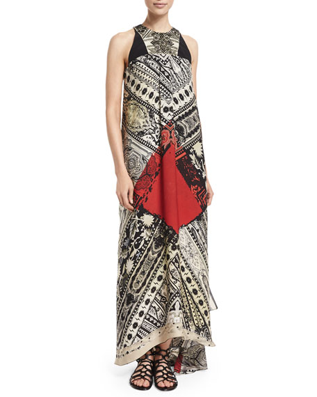 Etro Sleeveless Bandana-Print Embellished Dress, Pine