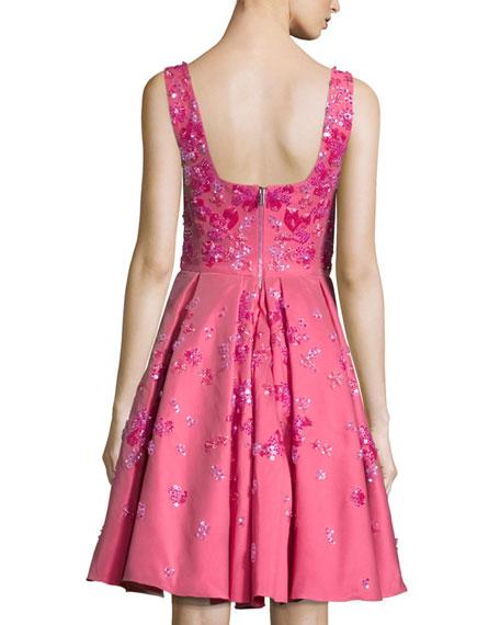 Sleeveless Floral-Embellished Dress, Rose Red