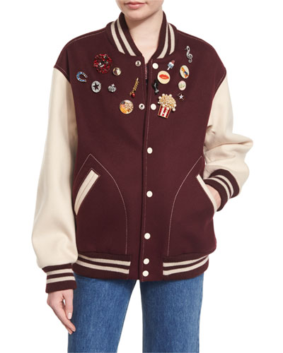 Embellished Oversized Varsity Jacket, Bordeaux