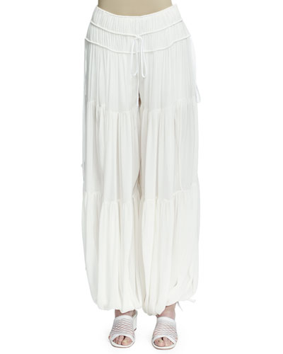 Tiered Wide-Leg Harem Pants, Milk