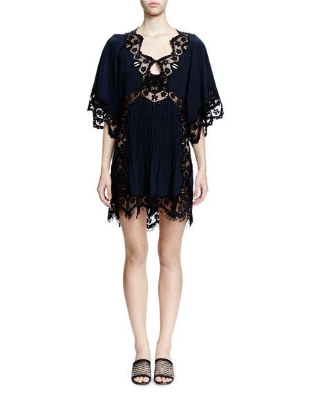 Chloe Flutter-Sleeve Lace-Inset Dress, Navy/Black