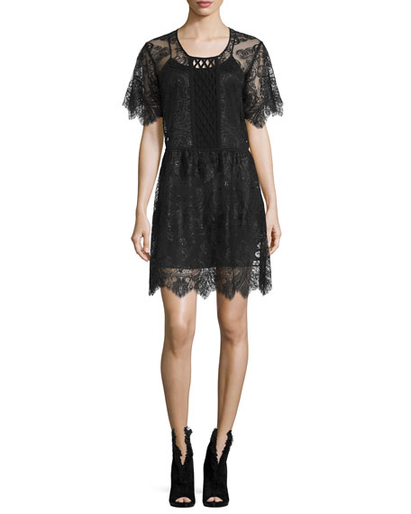 Short-Sleeve Chantilly Lace Dress, Black