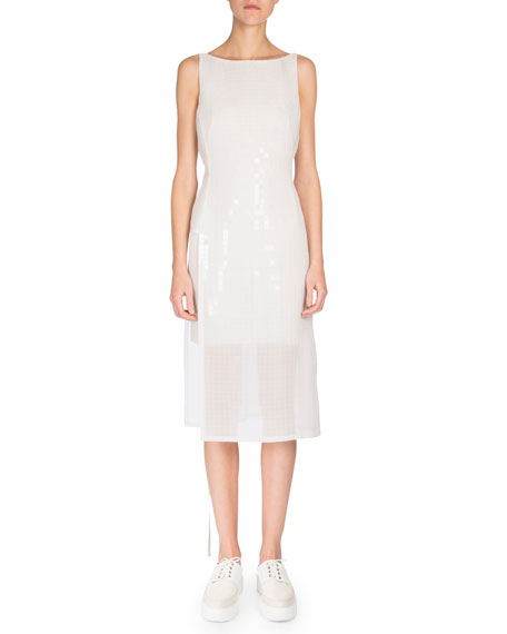 Akris Sleeveless Grid-Print Dress, Anemone