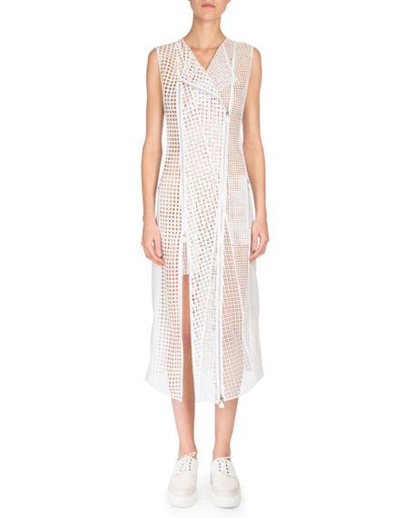 Akris Sleeveless Patchwork-Embroidery Coat Dress, Anemone