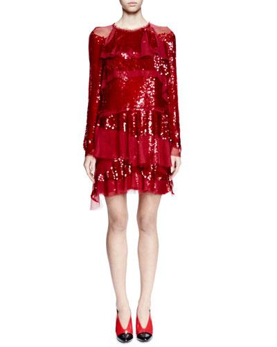 Long-Sleeve Sequined Ruffle Dress, Carmin
