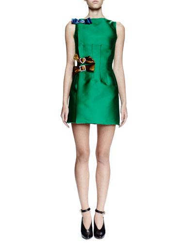 Sleeveless Mini Dress W/Contrasting Bows, Green