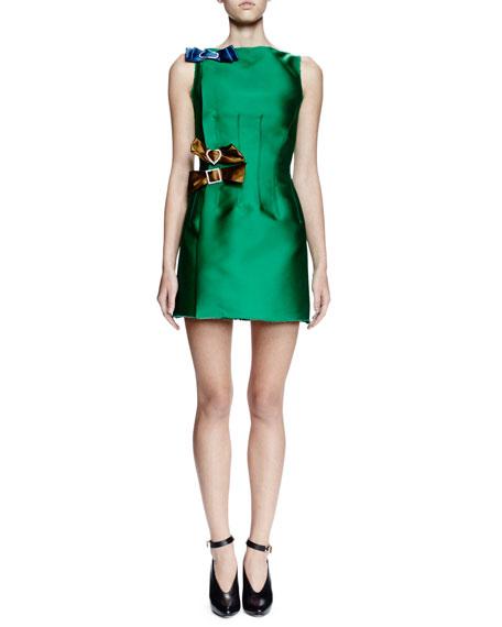 Lanvin Sleeveless Mini Dress W/Contrasting Bows, Green